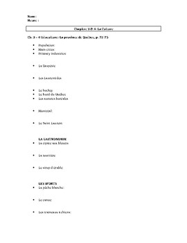 Bien Dit 1 Géoculture and culture worksheet chapters 3 - 4