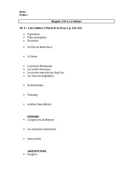 Bien Dit! Level 1 Géoculture and culture worksheet chapters 5 - 6