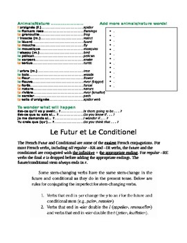Bien Dit Level 2, Chapter 7 Vocabulary Sheet with Future versus Conditionel