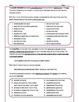 Bien Dit Level 2, Chapter 7 Vocabulary Sheet with Passe Compose versus Imparfait
