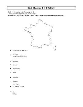 Bien Dit! Level 3 Géoculture and culture worksheet chapters 1 - 2