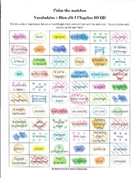 Bien dit 1 Chapitre 10: Color the matches vocabulaire 2
