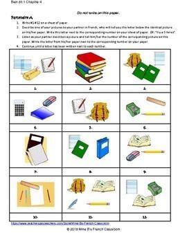 Bien dit 1 Chapitre 4: Les fournitures scolaires partner matching activity