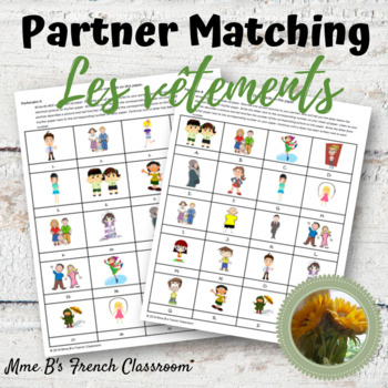Bien dit 1 Chapitre 7: Les vêtements clothing partner matching activity