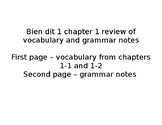 French Bien dit 1 chapter 1 review of vocabulary and grammar notes
