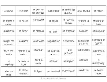 Bien dit 2 Chapitre 5: Reflexive verbs and Daily routine 4-In-A-Row Game