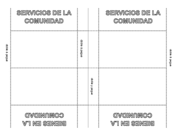 Bienes y Servicos: Easy foldable wallet to sort pictures & T Chart-Spanish
