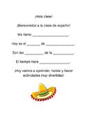 Bienvenida - Spanish class student- led welcome.