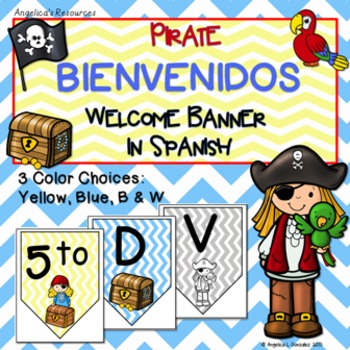 Bienvenidos: Pirate Welcome Banner in Spanish