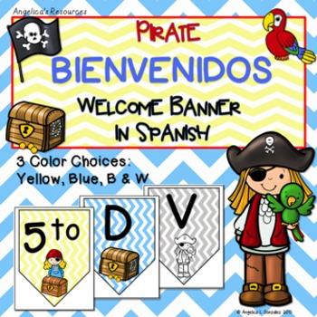 Bienvenidos: Pirate Welcome Banner in Spanish