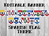 Bienvenidos Amigos Classroom Welcome Banner Spanish Flags 10'' x 7''