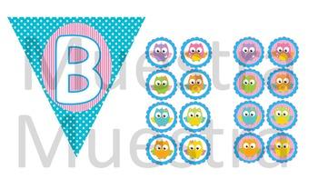 Bienvenidos Banderínes Buhos / Spanish Welcome Bunting OWLS