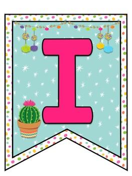 Bienvenidos - Llamas y Cactus (Llamas & Cactus themed Bienvenidos Bunting)