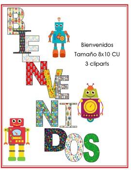 Bienvenidos Motivo Robots con 3 cliparts tamaño 8x10