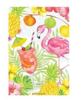 Bienvenidos Piñas y flamencos/Welcome Banner in Spanish Pineapples&Flamingos
