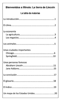 Bienvenidos a Illinois Books in Spanish-3 Reading Levels-State Report Resource