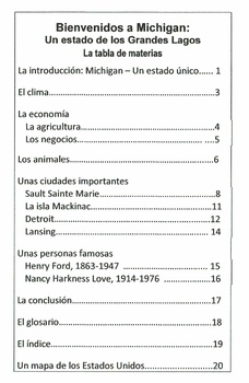 Bienvenidos a Michigan Books in Spanish - 3 Reading Levels-State Report Resource