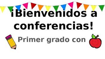 Bienvenidos a conferencias- conference screen projection in Spanish