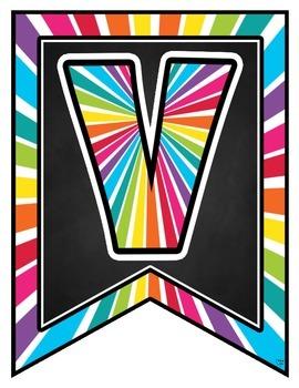 Bienvenue! Rainbow Pennant Banner