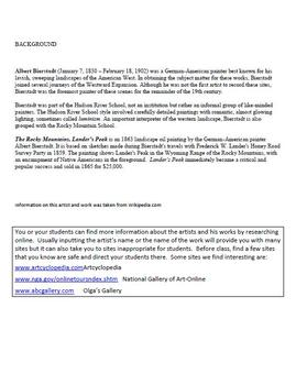 Bierstadt. Rocky Mts, Lander's Pk. Coloring page & lesson plan ideas