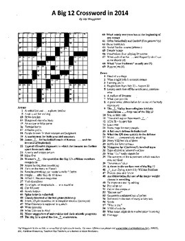 """Big 12 Conference Crossword Puzzle, 2014, some """"sporting"""" vocabulary practice"""
