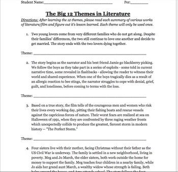 Big 12 Themes Worksheet