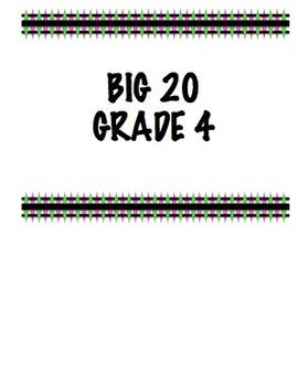 Big 20 - Grade 4 - Progress Monitoring