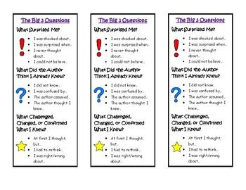 Big 3 Questions Bookmark