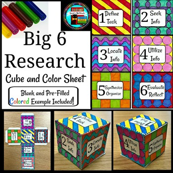 Big 6 Research Cube and Coloring Sheet