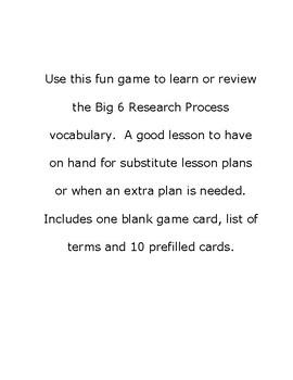 Big 6 Research Process Bingo Game