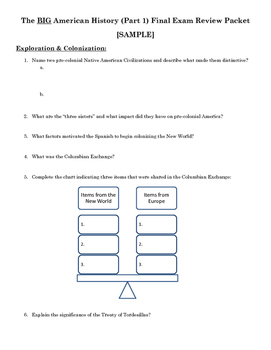 Big American History Review Packet - Exploration [SAMPLE]