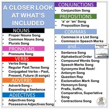 Grammar Rocks! MEGA BUNDLE with 31 mp3's, Grammar Charts & Teacher's Handbook