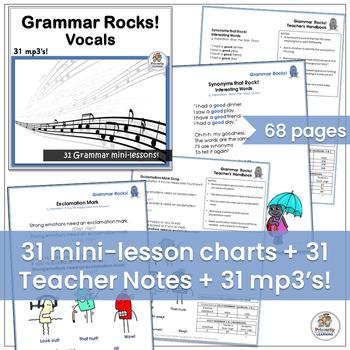 Grammar Songs! MEGA BUNDLE: 31 mp3's, Classroom Charts & Handbook | Grades 1 & 2