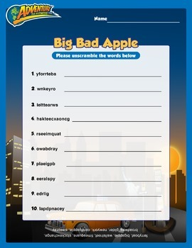 Big Bad Apple Word Scramble