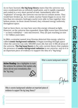 Literacy: Big Bang Theory Workbook - NGSS Aligned Guided Reading, Differentiated