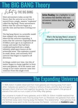 Evidence for the Big Bang Theory - Content Literacy Workbook (NGSS HS-ESS1-2)