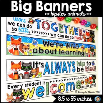 Big Banners Hipster Animals Classroom Decor
