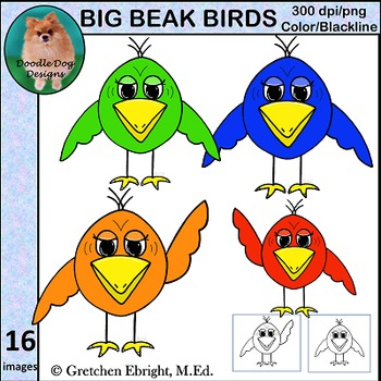 Big Beak Birds Clip Art Set