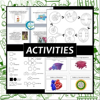 Big Biology Bundle: PowerPoints, Notes, Task Cards & Review Qubes