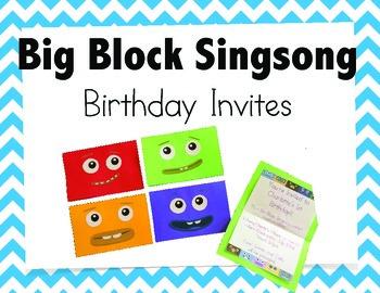 Big Block Singsong Birthday Invites