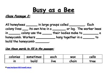 Big Book Activities - Busy as a Bee - 18 pages