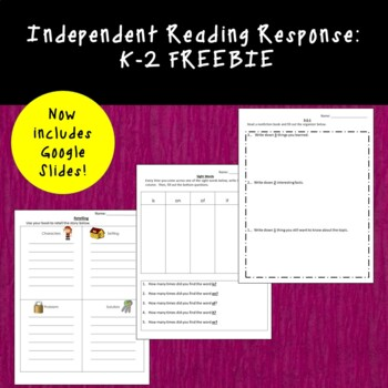 Big Book/Read to Self Center:  Print and Go Freebies!