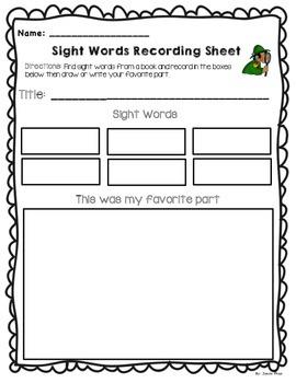 Sight Words Recording Sheet
