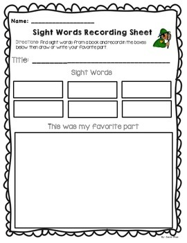 Sight Words Recording Sheet