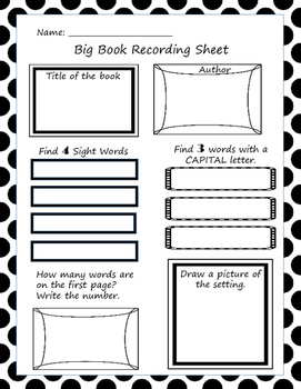 Big Book Recording Sheets