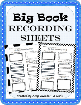 Big Book Recording Sheets