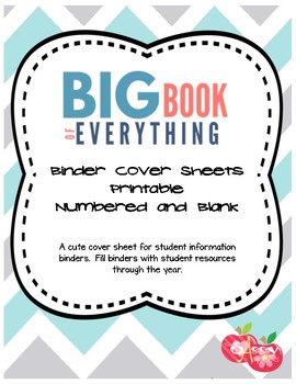 big book of everything student resource binder cover sheet by two