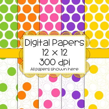 Big, Bright Polka Dot Digital Papers - 5 colors, 10 total papers