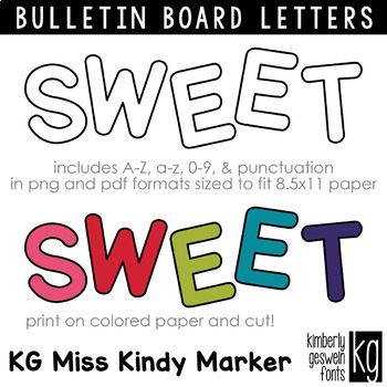 Bulletin Board Letters: KG Miss Kindy Marker