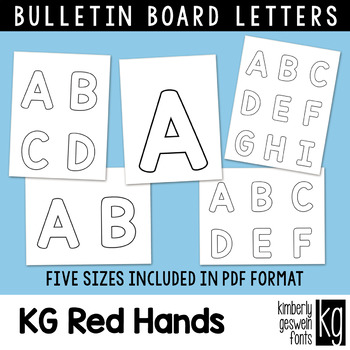 Bulletin Board Letters: KG Red Hands